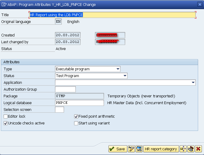 ABAP Program Attributes