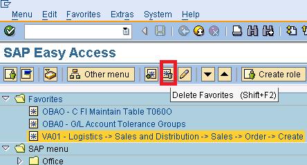 Delete SAP Favorites