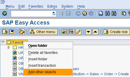 Ad Other Objects to SAP Favorites