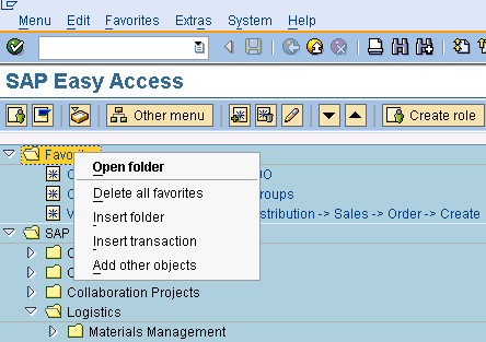 SAP Favourite Context Menu