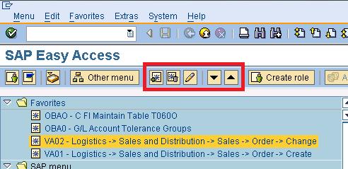 SAP Favourites short cut icons