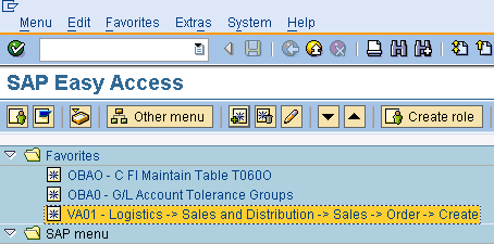 SAP Favourites Folder