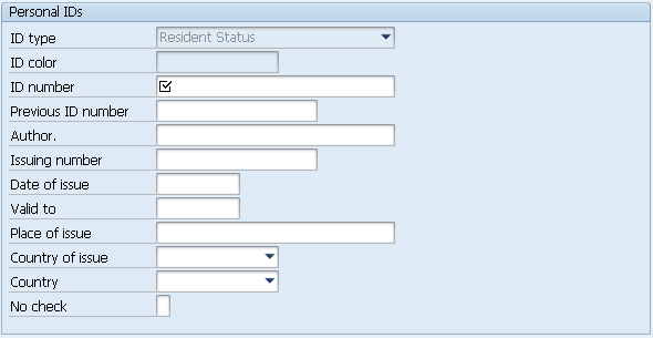 Example Of infotype 0185 (Personal IDs)