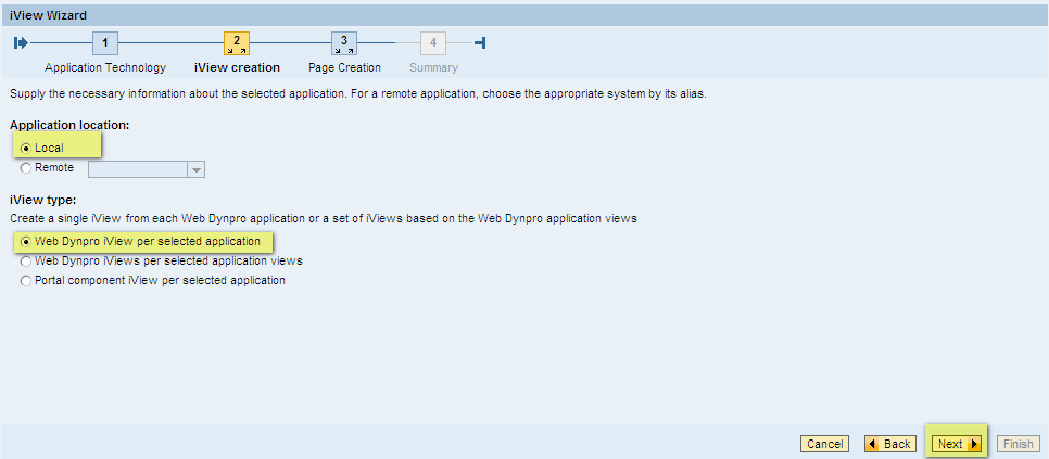 Select 'Application Location' as local and 'iView type' as 'Web Dynpro iView per selected application'