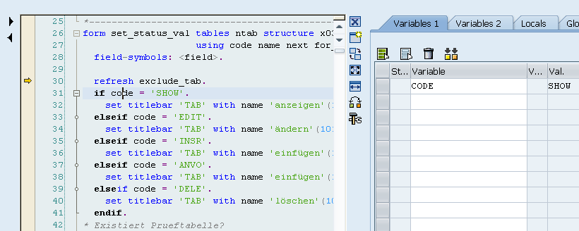 Click On The Variable CODE, It Will Have 'SHOW' As Its Value