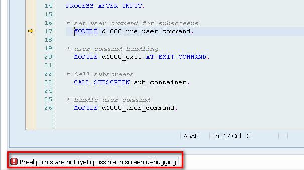 Some Limitations Of New ABAP Debugger Screen Debugging
