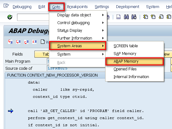 Go to → System Areas → ABAP Memory In The Classical Debugger