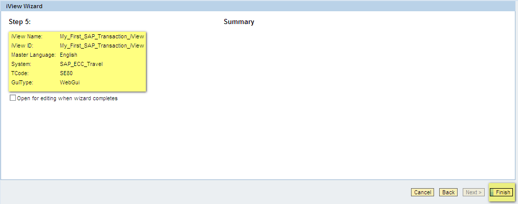 You Have Successfully Created The iView For Your SAP Transaction