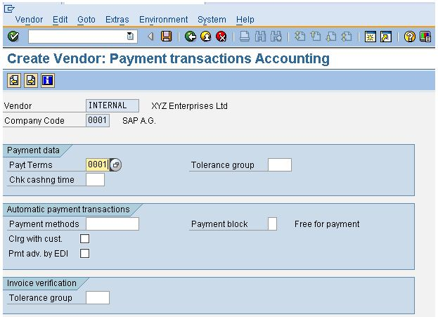 Payment Transactions Accounting Tab In The Vendor Master