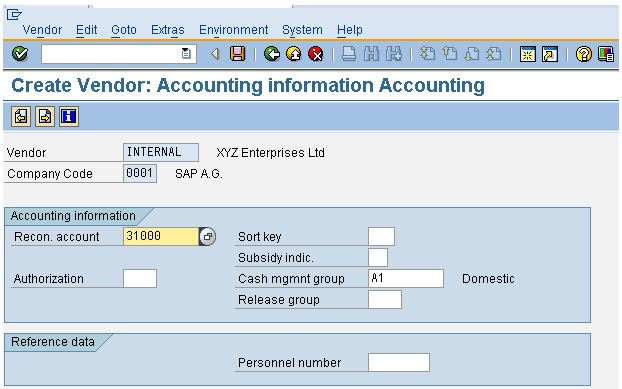 Accounting Information Accounting Tab In The Vendor Master