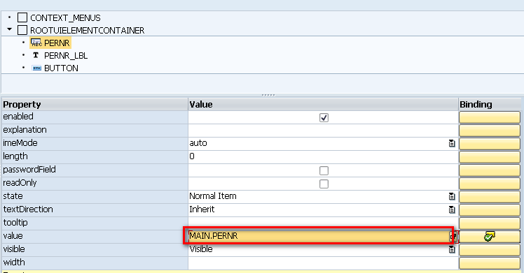 SAP - Web Dynpro - Binding Fields