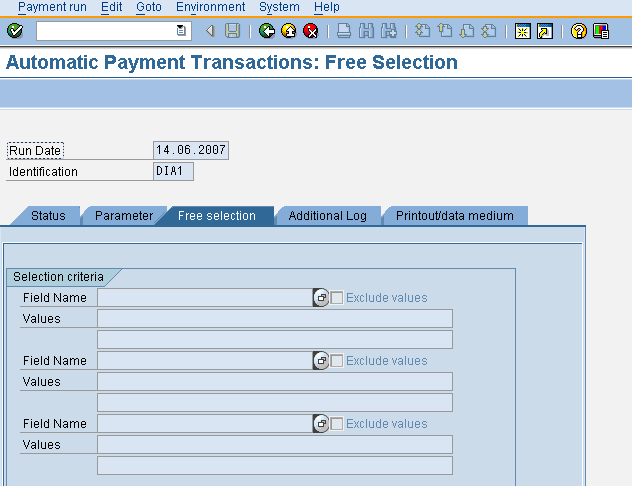 ENTER THE FREE SELECTION PARAMETERS FOR THE AUTOMATIC PAYMENT RUN