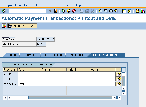 ENTER THE PRINT OUT DETAILS FOR THE AUTOMATIC PAYMENT PROGRAM